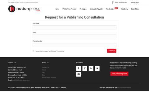 Screenshot of Signup Page notionpress.com - Get Started | Notion Press - captured Jan. 19, 2016