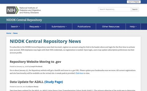 Screenshot of Press Page nih.gov - NIDDK Central Repository News - captured March 25, 2018