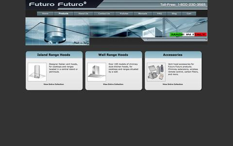 Screenshot of Products Page futurofuturo.com - Range Hood Manufacturer - Range Hood Products - captured Sept. 19, 2014