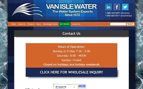 Screenshot of Contact Page vanislewater.com - Contact Us | Van Isle Water - captured Aug. 17, 2016