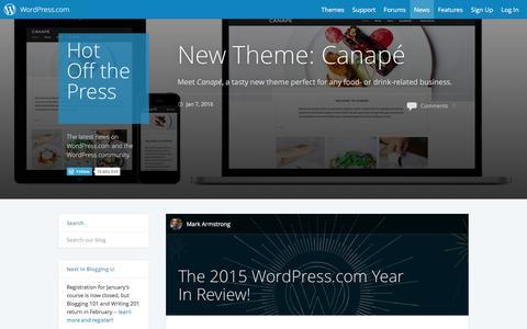 Screenshot of Blog wordpress.com - WordPress.com News - captured Jan. 8, 2016