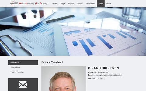 Screenshot of Press Page wage-organisation.com - Press contact - Wage Organisation - captured Jan. 28, 2017