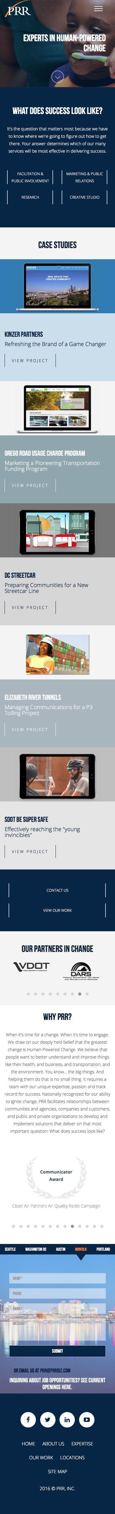 Screenshot of prrbiz.com - PRR | Communications, Marketing, Research, & Digital - captured Oct. 11, 2016