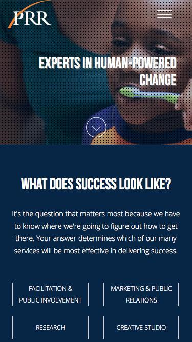 Screenshot of Home Page  prrbiz.com - PRR | Communications, Marketing, Research, & Digital