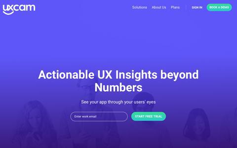 Screenshot of Home Page uxcam.com - Improve User Experience of Mobile Apps | UXCam - captured Nov. 17, 2018
