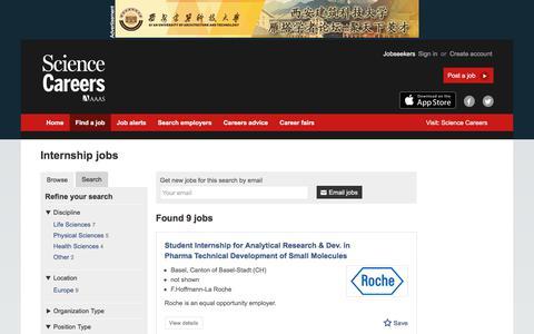 Screenshot of Jobs Page sciencecareers.org - Internship jobs - captured Sept. 22, 2017