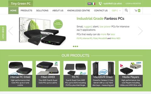 Screenshot of Home Page tinygreenpc.com - The Impossibly Small, Quiet, Fanless, Ultra Low Power PC | Tiny Green PC - captured Jan. 13, 2016