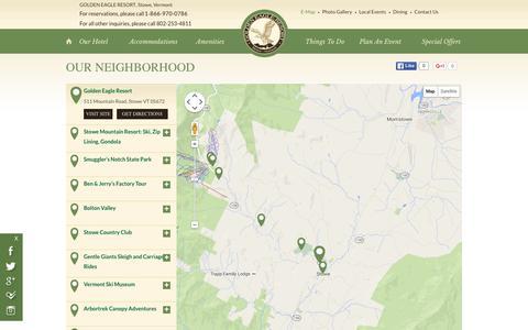 Screenshot of Maps & Directions Page goldeneagleresort.com captured Dec. 12, 2015