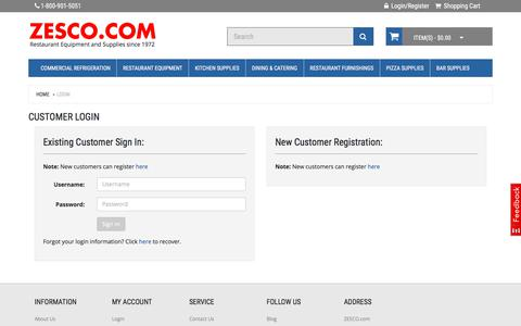 Screenshot of Login Page zesco.com - Customer Login - captured July 5, 2017