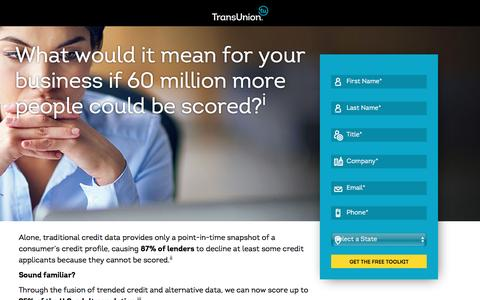 Screenshot of Landing Page transunion.com - Data Fusion | A Hybrid Approach | TransUnion - captured Feb. 8, 2017