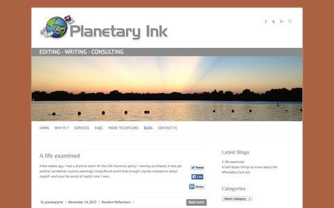 Screenshot of Blog planetaryink.com - Planetary Inc Blog: Medical Writing, Editing and Consulting - captured Oct. 2, 2014