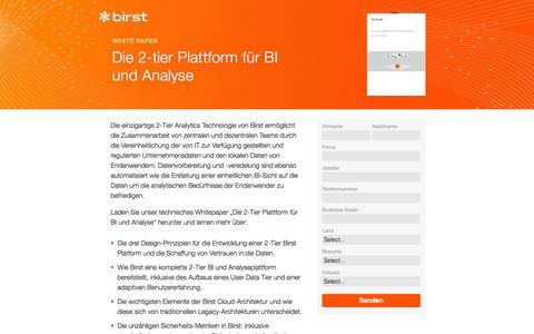 Screenshot of Landing Page birst.com - Birst   Die 2-tier Plattform für BI und Analyse - captured June 30, 2016