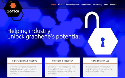 Screenshot of Home Page 2-dtech.com - 2-DTech - Helping industry unlock graphene's potential - captured Oct. 7, 2014