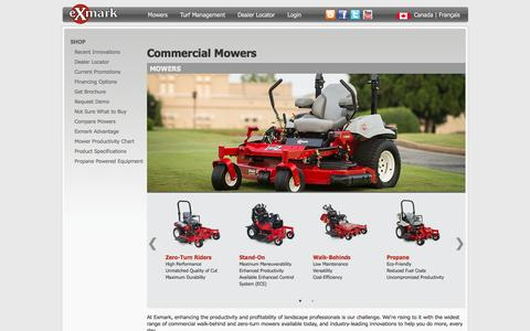 Screenshot of Products Page exmark.com - Commercial Lawn Mowers - Lawn Equipment | Exmark - captured Oct. 3, 2014