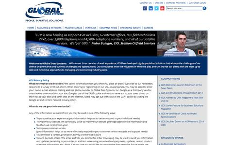 Screenshot of Privacy Page getgds.com - Global Data Systems, Inc. in Louisiana - captured Oct. 1, 2014