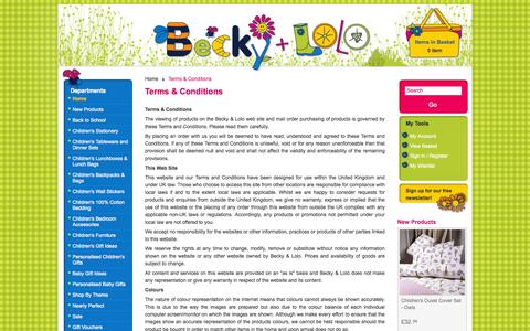 Screenshot of Terms Page beckyandlolo.co.uk - Terms & Conditions  | Becky & Lolo - captured Sept. 19, 2014