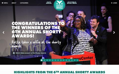 Screenshot of Home Page shortyawards.com - The Shorty Awards - Honoring the best of social media - captured Sept. 19, 2014