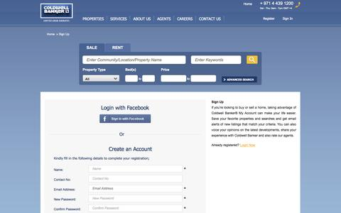Screenshot of Signup Page coldwellbanker.ae - Sign Up | Coldwell Banker - captured Oct. 31, 2014
