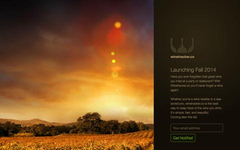 Screenshot of Home Page winescor.es - WineTracker.co | The easiest way to keep track of your wine - captured Oct. 6, 2014