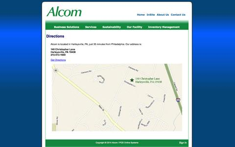 Screenshot of Maps & Directions Page alcomprinting.com - Directions - captured Sept. 30, 2014