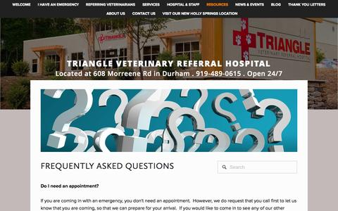 Screenshot of FAQ Page trianglevrh.com - FAQs — Triangle Veterinary Referral Hospital - captured Nov. 5, 2014