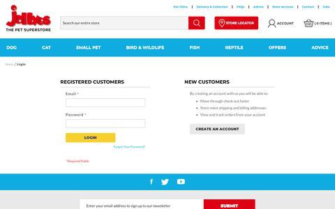 Screenshot of Login Page jollyes.co.uk - Customer Login - captured Sept. 26, 2018