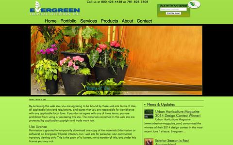 Screenshot of Terms Page evergreenti.com - Terms of Use | Evergreen Tropical Interiors Inc - captured Oct. 3, 2014