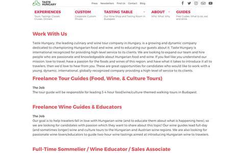 Screenshot of Jobs Page tastehungary.com - Work With Us — Taste Hungary - captured Sept. 21, 2018