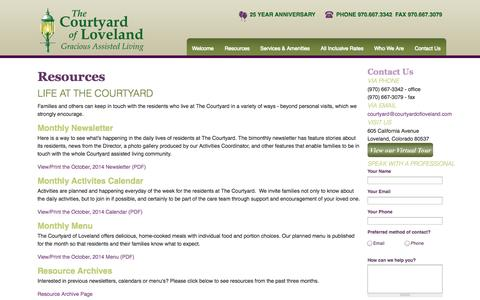Screenshot of Menu Page courtyardofloveland.com - Resources | Courtyard of Loveland - captured Oct. 3, 2014