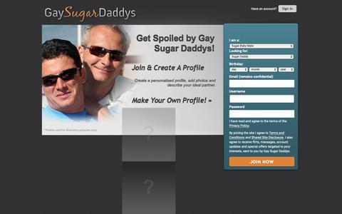 Screenshot of Home Page gaysugardaddys.com - Gay Sugar Daddys | Arrange A Date Today - captured Nov. 13, 2018