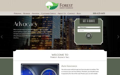 Screenshot of Home Page forestagency.com - Illinois Insurance Agency | Forest Agency - captured Oct. 1, 2014