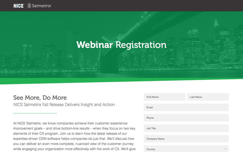 Satmetrix Webinar Registration: See More, Do More