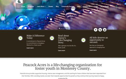 Screenshot of Home Page peacockacres.org - Peacock Acres - captured Oct. 2, 2014