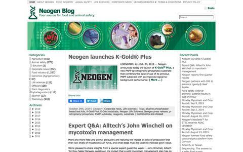 Screenshot of Blog neogen.com - Neogen Blog - captured Nov. 23, 2019