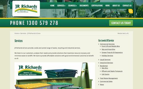 Screenshot of Services Page jrrichards.com.au - Services - JR Richards & Sons   JR Richards & Sons - captured Feb. 3, 2016