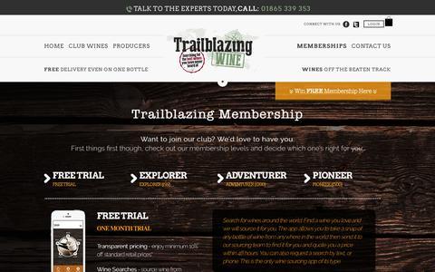 Screenshot of Trial Page trailblazingwine.com - Trailblazingwine - captured Jan. 12, 2016