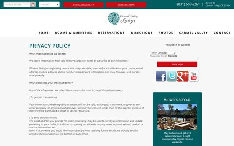 Screenshot of Privacy Page valleylodge.com - Privacy Policy Carmel Valley Lodge Carmel Valley California CA Hotels Motels Accommodations - captured Sept. 27, 2018