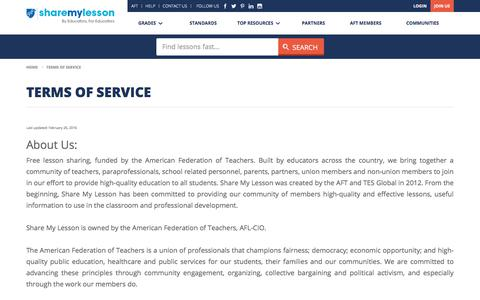 Screenshot of Terms Page sharemylesson.com - Terms of Service | Share My Lesson - captured Nov. 11, 2019