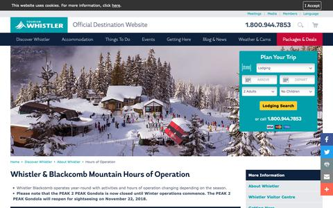Screenshot of Hours Page whistler.com - Whistler, BC Canada | Hours of Operation | Tourism Whistler - captured Oct. 18, 2018