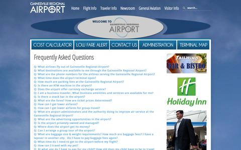 Screenshot of FAQ Page flygainesville.com - Gainesville Regional Airport - FAQs - captured Oct. 1, 2014