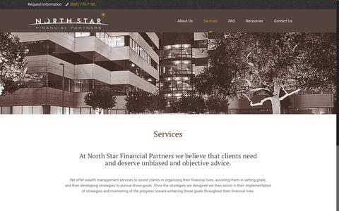 Screenshot of Services Page northstarfinancialpartners.com - Services – North Star Financial Partners - captured Dec. 9, 2016