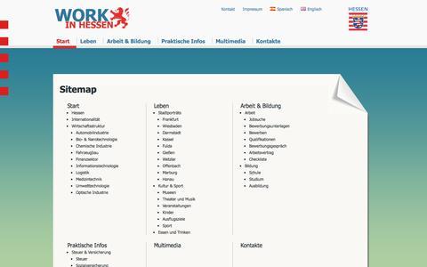 Screenshot of Site Map Page work-in-hessen.de - Work in Hessen - Sitemap - captured April 19, 2016
