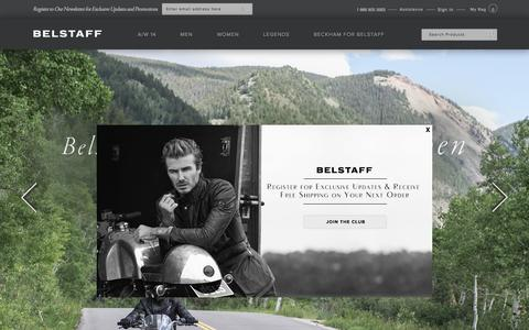 Screenshot of Home Page belstaff.com - Belstaff | Luxury Men's and Womenswear, Bags and Shoes since 1924 - captured Sept. 19, 2014