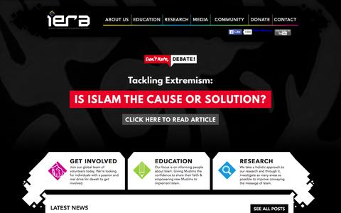 Screenshot of Home Page iera.org - iERA   Islamic Education and Research Academy - captured Jan. 9, 2016