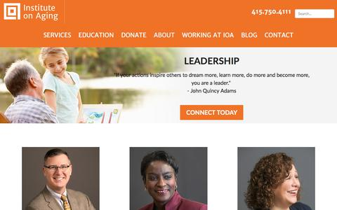Screenshot of Team Page ioaging.org - Our Leadership Team | Institute on Aging - Serving San Mateo & Santa Clara - captured Oct. 15, 2017