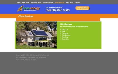 Screenshot of Services Page acosenergy.com - other services | ACOS Energy - captured Nov. 2, 2014