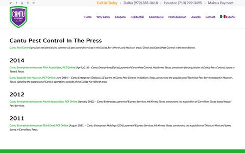 Screenshot of Press Page cantupestcontrol.com - Press - Dallas Fort Worth Houston Pest Control Service Company - captured Dec. 6, 2015