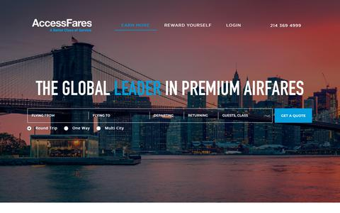 Screenshot of Home Page accessfares.com - Access Fares - captured July 28, 2018