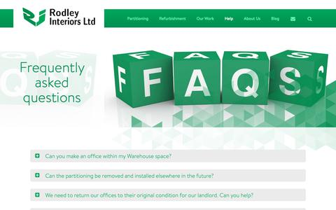 Screenshot of FAQ Page rodleyinteriors.co.uk - Office Partitioning FAQs – Rodley Interiors, Leeds - captured Oct. 20, 2018