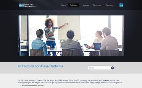 Screenshot of Products Page interactivenw.com - Products and IVR Applications for Avaya Contact Centers   INI - captured Oct. 15, 2017